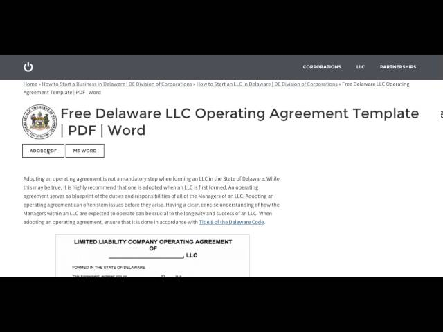 Free Delaware Llc Operating Agreement Template  Pdf  Word