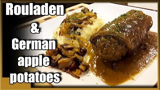 how to make beef rouladen  beef roulade and german apple potatoes.