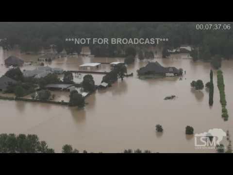 8-13-16 Denham Springs, LA Extreme Flooding! Chopper Footage