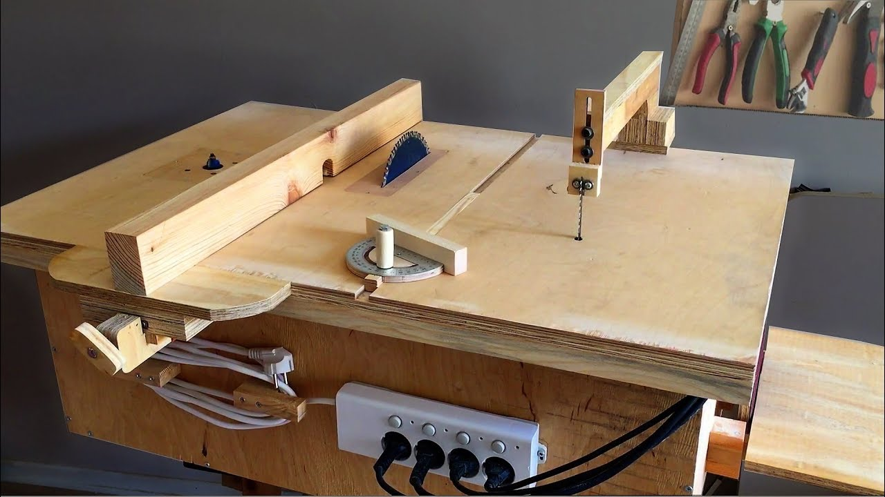 Homemade 4 In 1 Workshop (table Saw, Router Table, Disc Sander Jigsaw Table)  4 In 1Çalışma İstasyonu