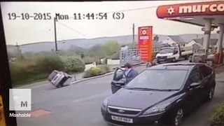Elderly Driver in Wales Takes Corner on Two Wheels, Recovers Like a Boss | Mashable News