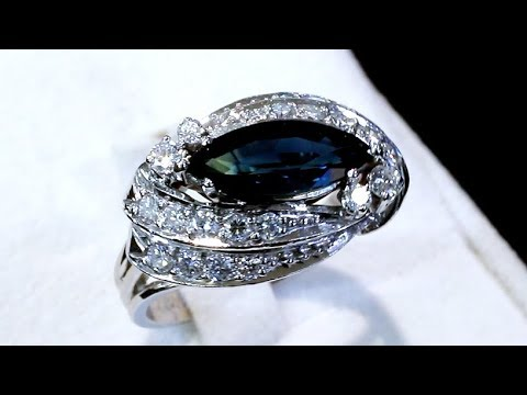 2.62 ct Sapphire and 1.12 ct Diamond, 14 ct White Gold Cocktail Ring - Vintage Circa 1950 - A9286