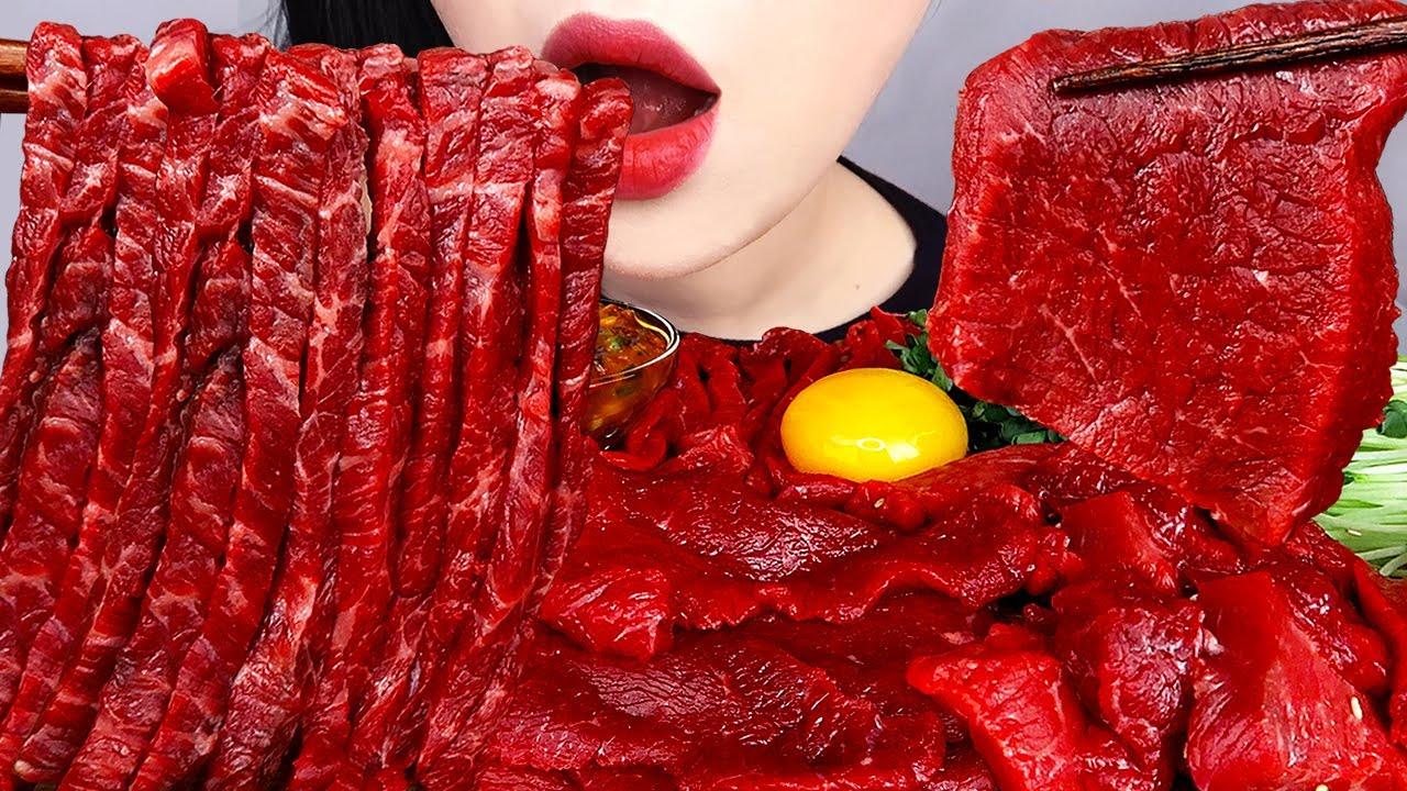 ASMR RAW BEEF 육회, 한우 뭉티기 먹방 KOREAN STYLE STEAK TARTARE YUKHOE MUKBANG (NO TALKING) EATING SOUNDS