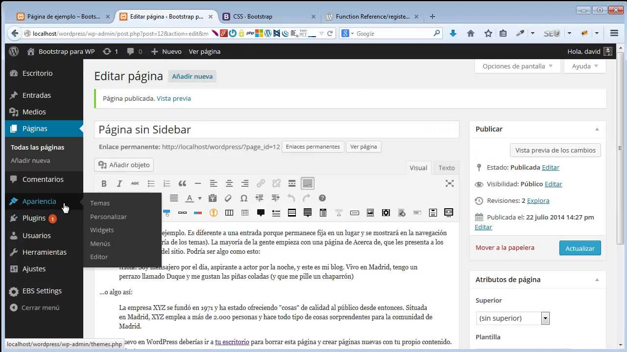 Bootstrap y Wordpress crear plantilla full - YouTube