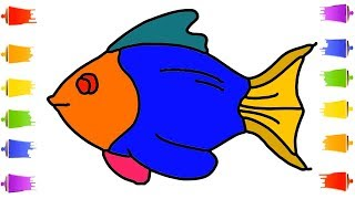 How To Draw Fish for Kids Coloring Learn Easily Step by Step    Little Channel    Art Fish Drawing