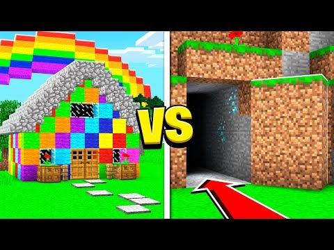 SECRET HIDDEN BASE Vs RAINBOW HOUSE IN MINECRAFT!