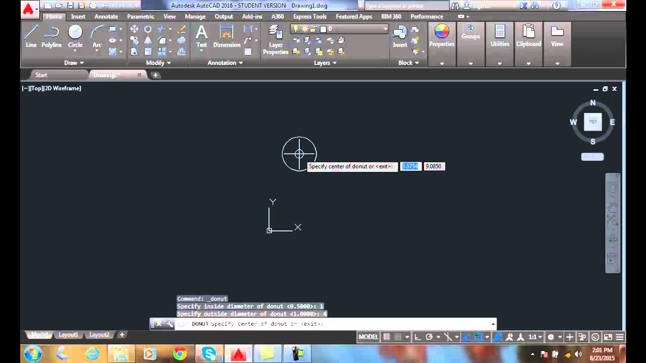 how to draw a donut in autocad