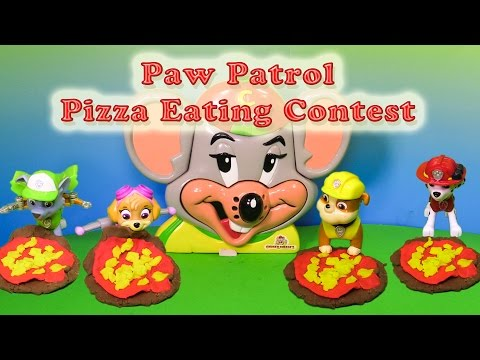PAW PATROL Has a  Chuckee Cheese Pizza Eating Contest Funny Toy Parody