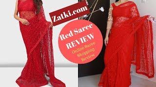 Beautiful Red Net Saree | Affordable Online Saree For Karwachauth/ Diwali/ Wedding/ Festivals