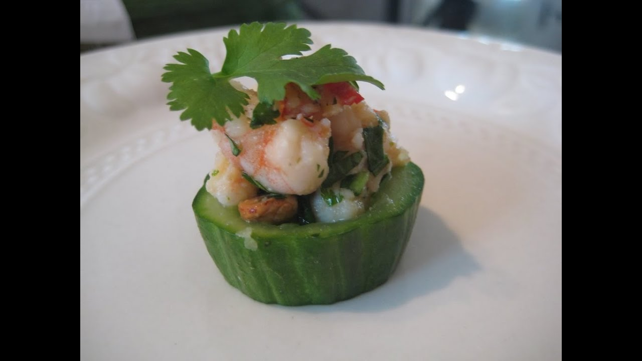 How to make canapes prawn and cucumber cups youtube for How to make canape