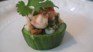 How To Make Canapes - Prawn And Cucumber Cups