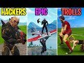 DOUBLE GLIDER FLYING?!   HACKERS Vs EPIC Vs TROLLS   Fornite Battle Royale Funny Moments