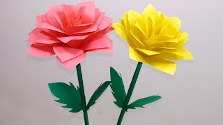 How to Make Very Beautiful Paper Rose Stick Flower | Rose Stick Flower-Jarine's Crafty Creation