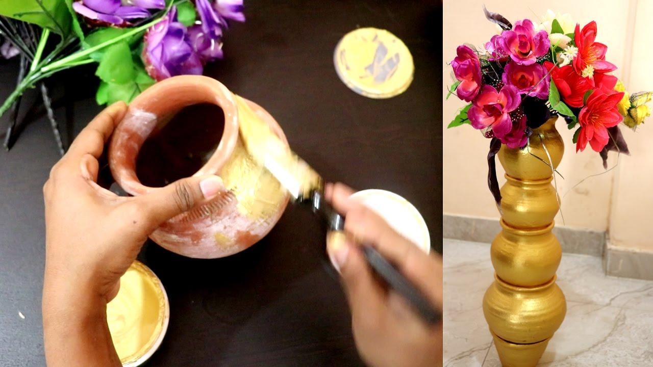 How to make flower vase diy flower vase from waste for Handmade flower vase with waste material
