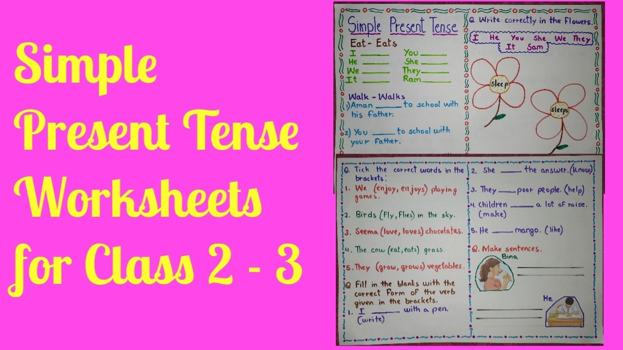 बच्चों के लिए simple present tense worksheet for class 2  #simplepresenttense - YouTube [ 720 x 1280 Pixel ]