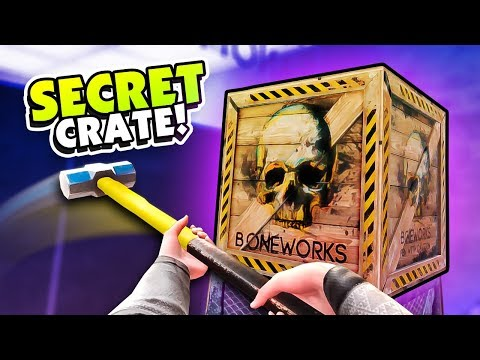 WHAT'S INSIDE THE SECRET CRATE? - Boneworks VR Gameplay