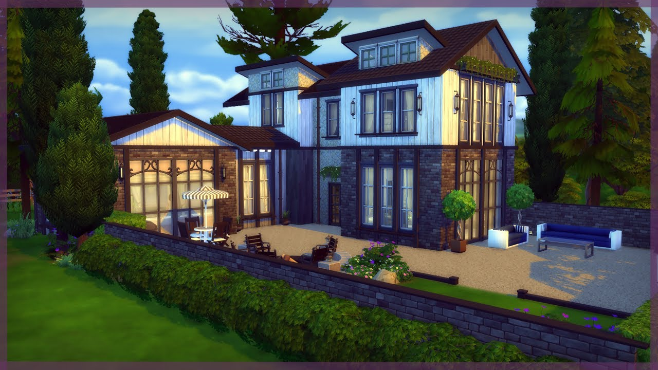 The sims 4 house build stylish country retreat asher for Build country house