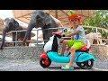 Vlad und Nikita fahren mit dem Fahrrad zum Zoo