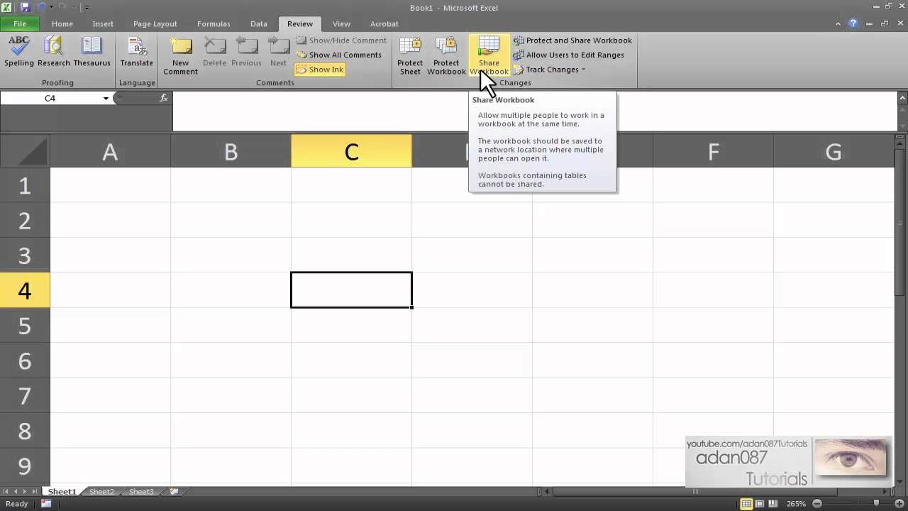 Excel enable shared workbook - YouTube