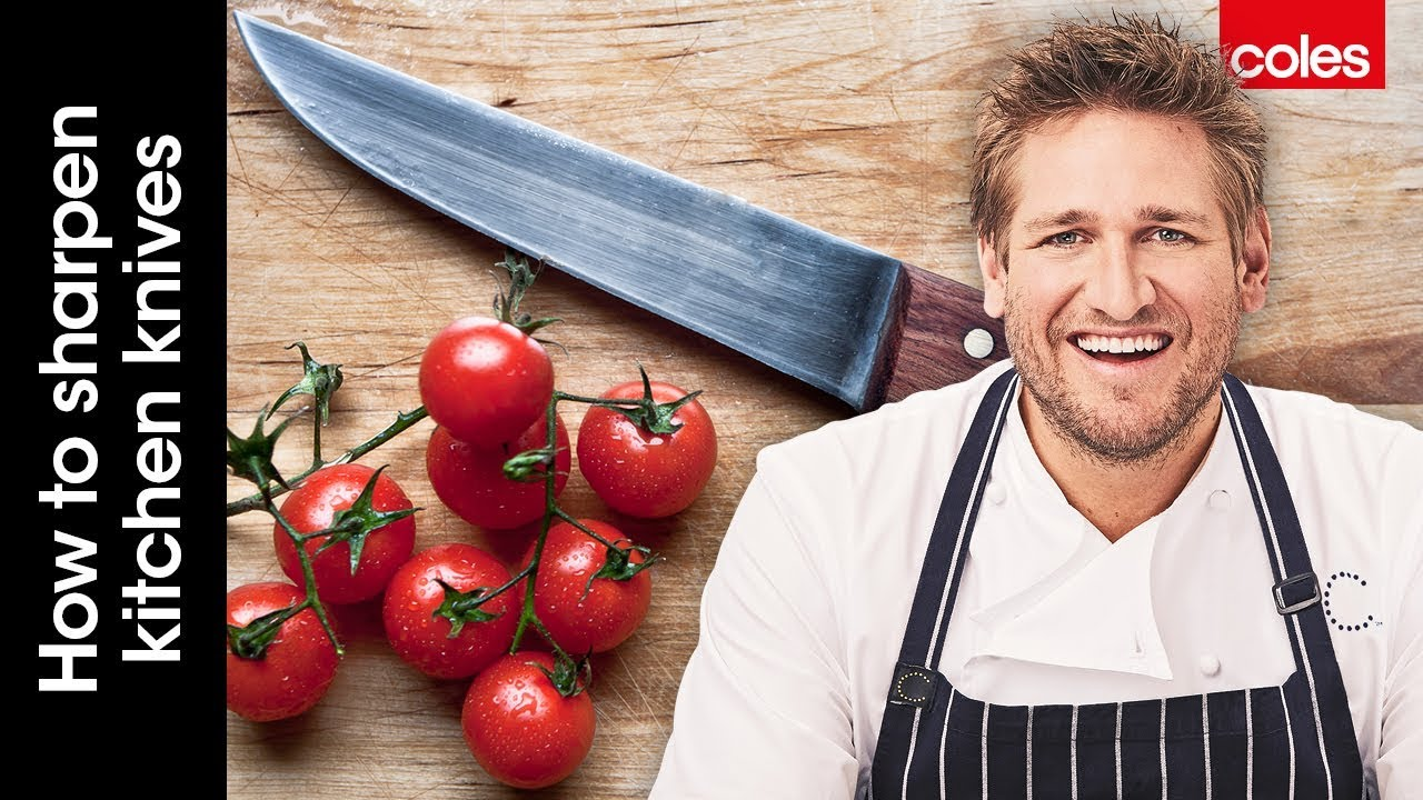 how to sharpen kitchen knives with curtis stone youtube