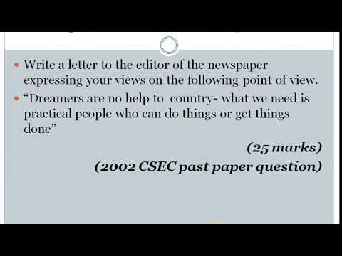 Letter to the Editor - CSEC English Paper 2 -2018 Format