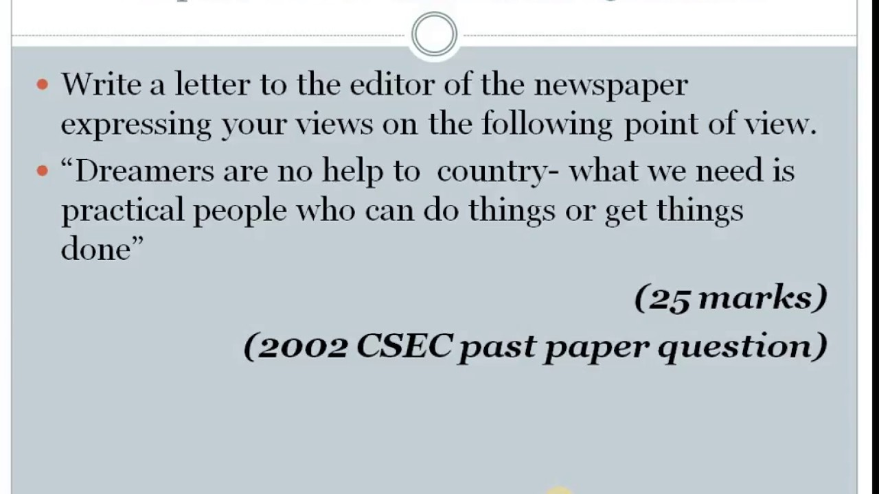 letter to the editor csec english paper 2 2018 format youtube