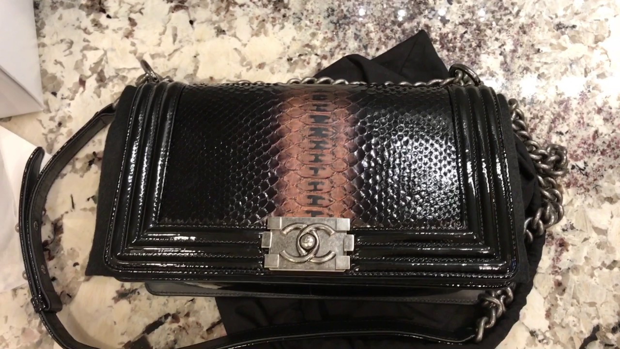 Chanel Black Python Le Boy Bag Unboxing