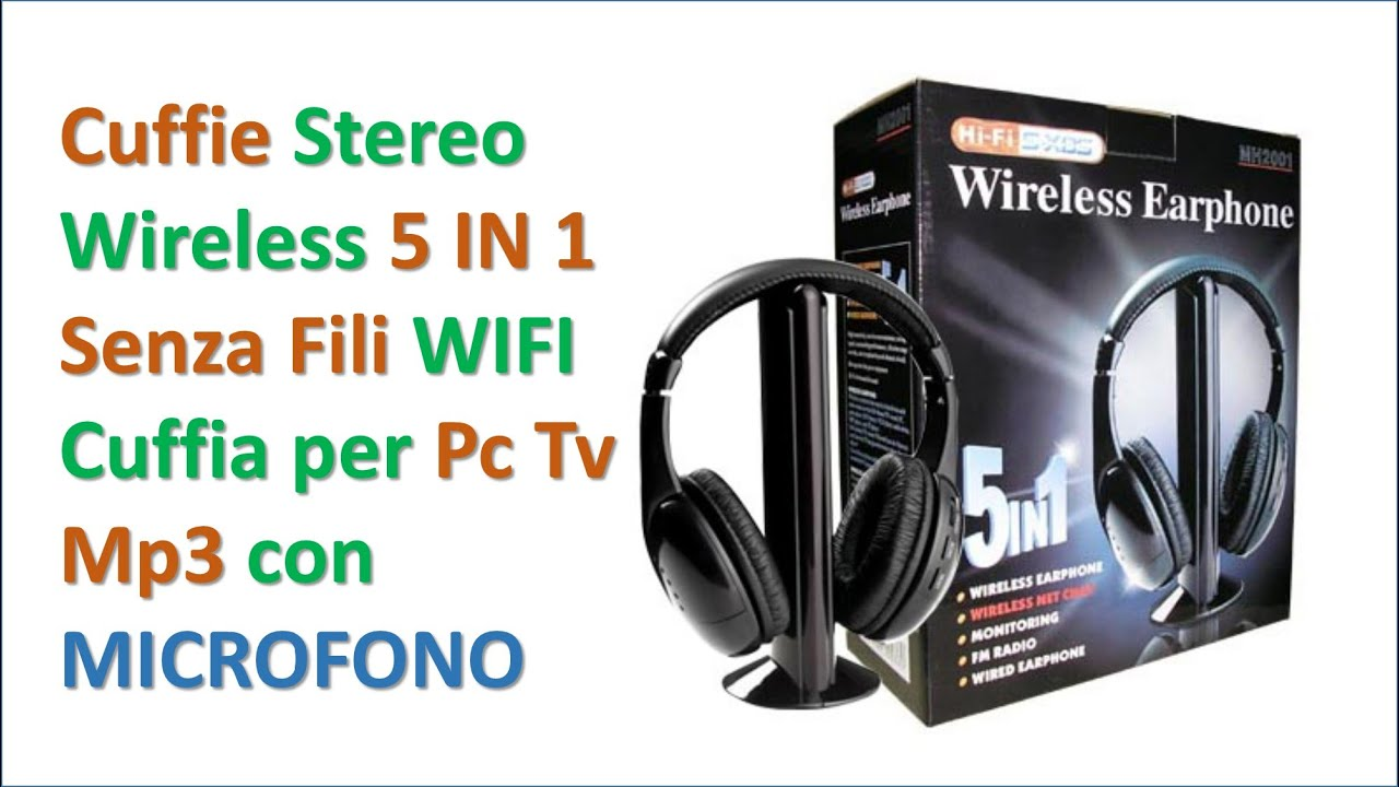 Mini Unboxing Cuffie Stereo Wireless 5 IN 1 Senza Fili WIFI Cuffia per Pc  Tv Mp3 con MICROFONO 842c2603472f