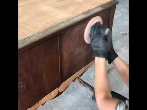 DIY how to sand and prime an antique dresser/ sideboard