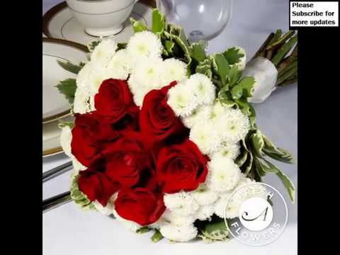 Popular Collection Of White   Red Rose Flower Bouquet Pictures     Popular Collection Of White   Red Rose Flower Bouquet Pictures Romance   Valentine flowers with Love