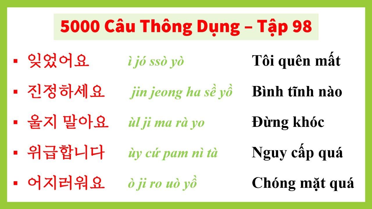 [Tập 98] - 5000 Câu Tiếng Hàn Thông Dụng | 실제로 자주 쓰는 한국어 문장들