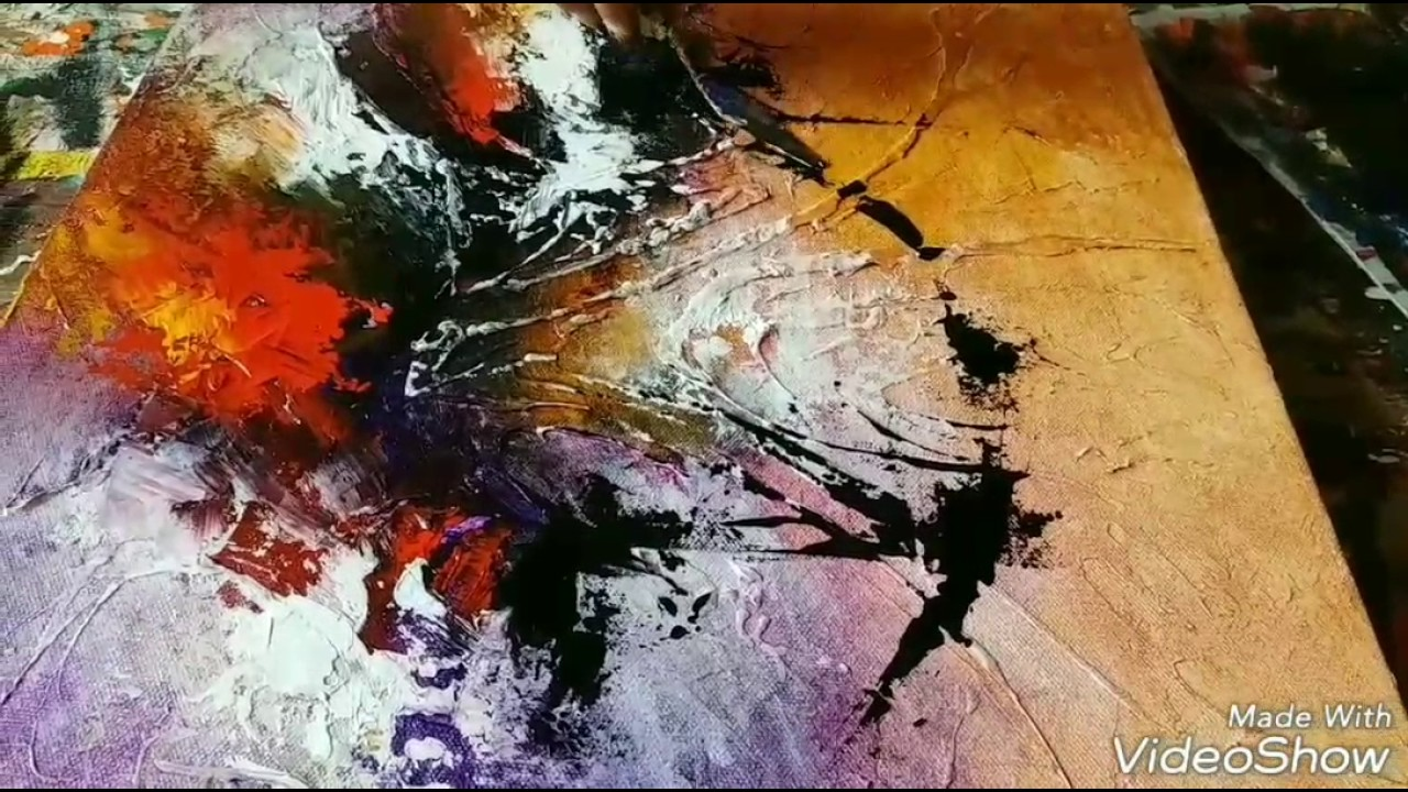 New acrylic abstract painting abstract art demonstration for Acrylic mural painting techniques