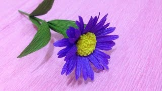Beautiful Aster Crepe Paper flowers - Flower Making of Crepe Paper - Paper Flower Tutorial