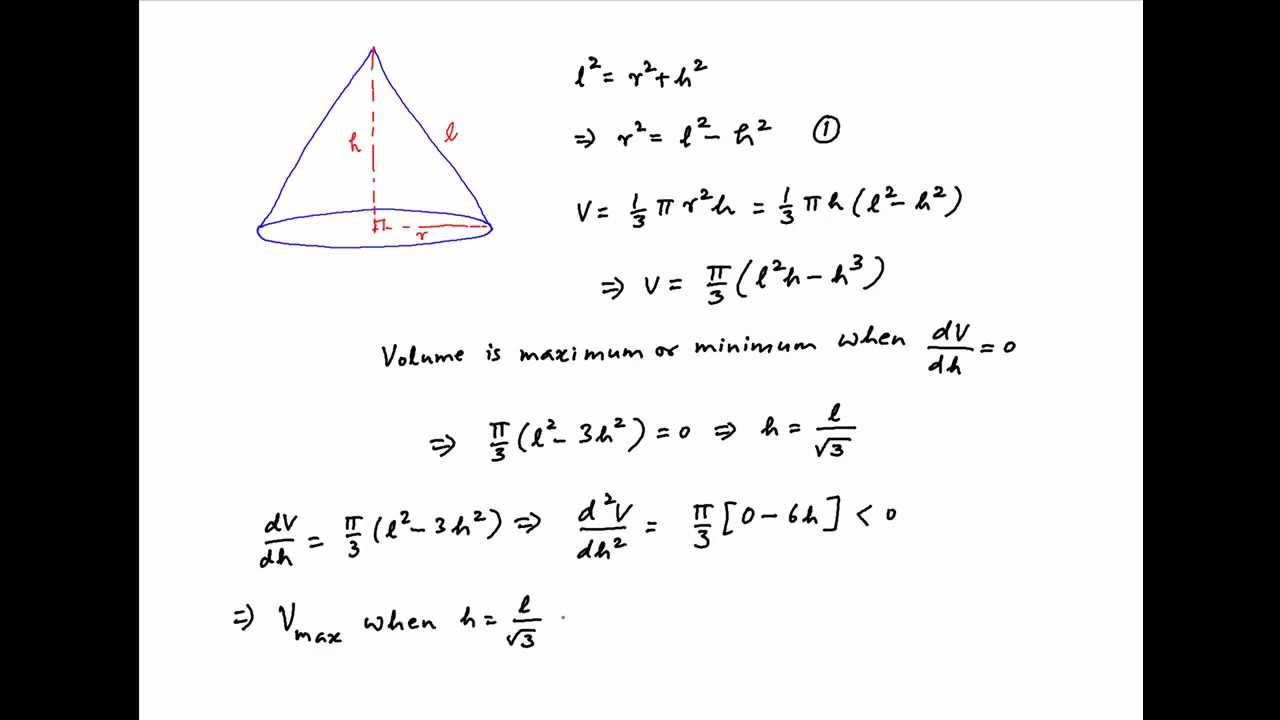 Find The Semivertical Angle Of A Cone Of Maximum Volume And Given Slant  Height