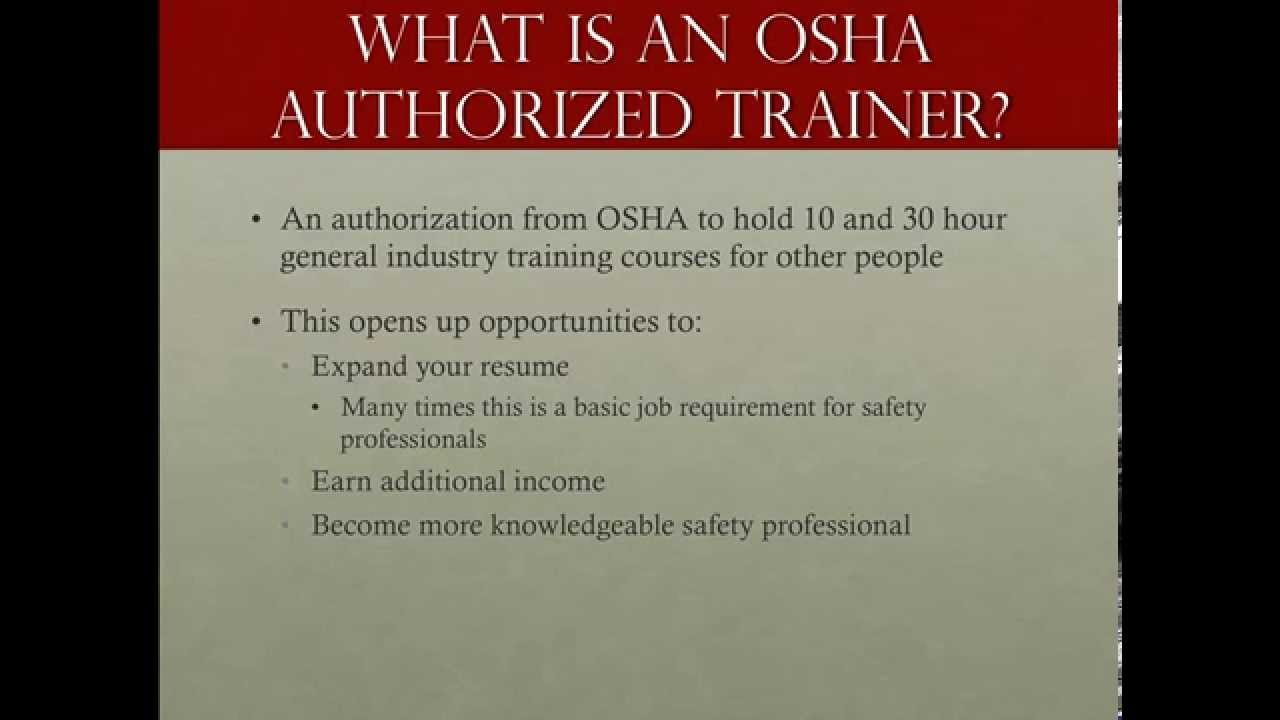 How to become an osha authorized general industry trainer youtube 1betcityfo Images