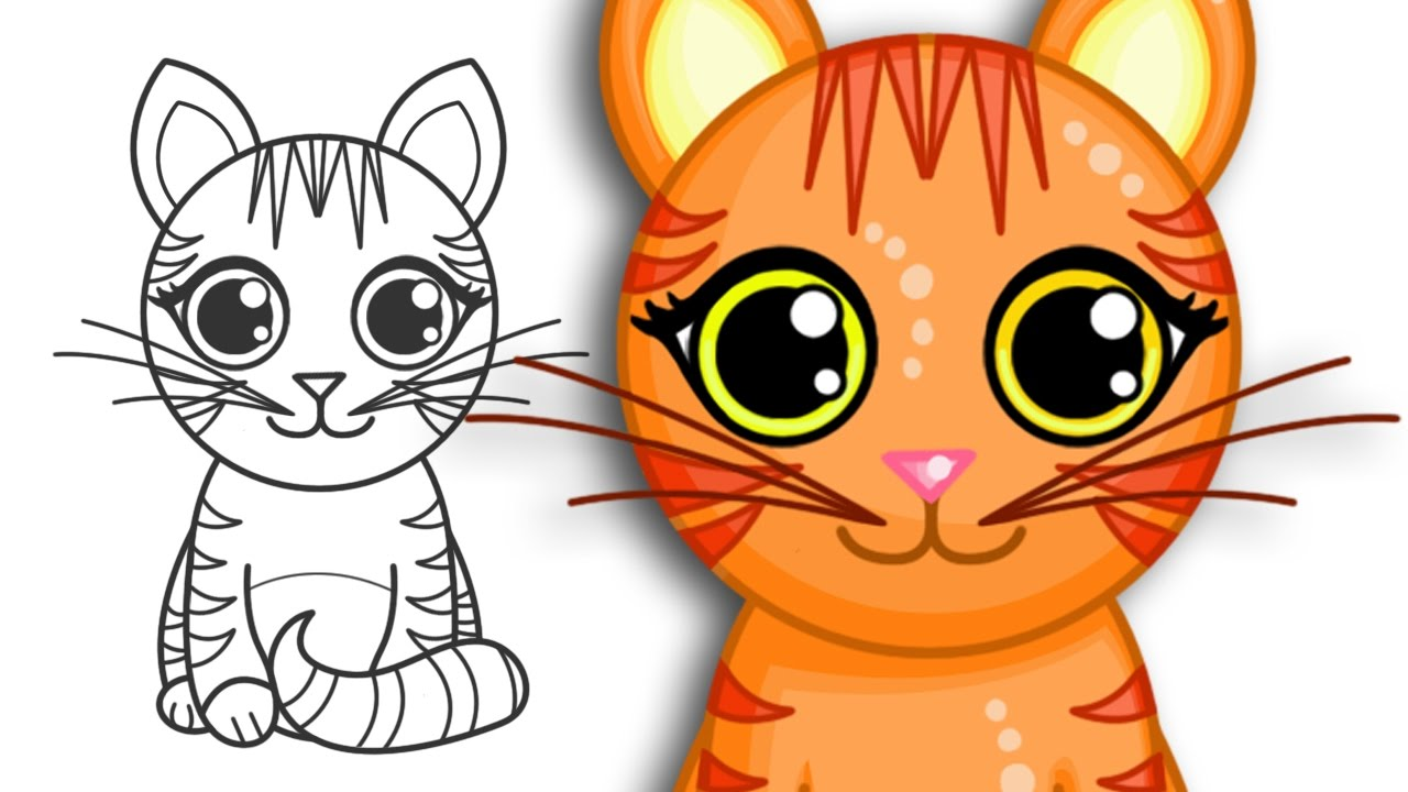 How to draw a cute cat   Step By Step Drawing - YouTube
