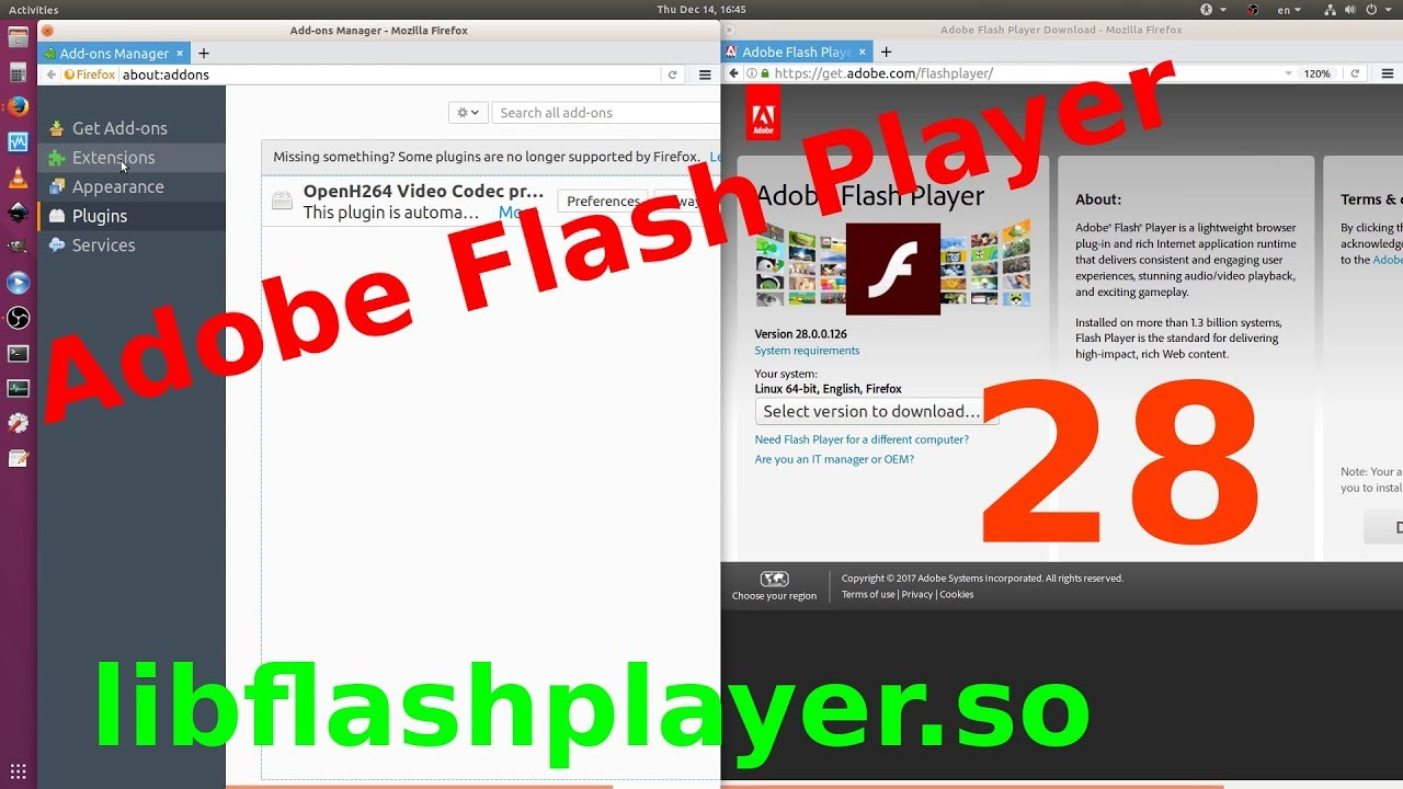 Ubuntu 18.04 LTS Linux OS: Install Adobe Flash Player 28.X