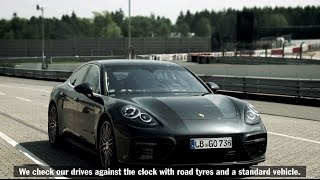 The new Porsche Panamera Turbo at the Nurburgring.