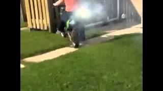 Mom Dirtbike Fail she shoots off on dirt bike then runs over woman in wheel chair