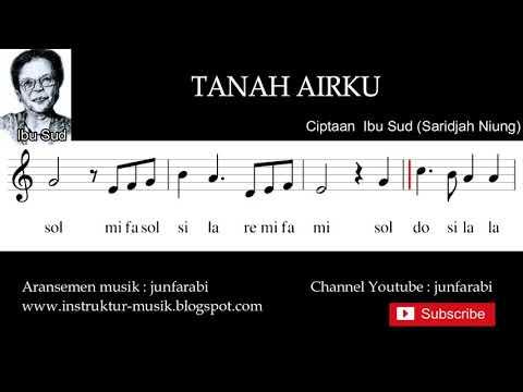 Tanah Airku Not Balok - Doremi / Solmisasi - Instrumen Musik By Junfarabi