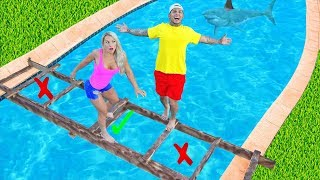 DONT Trust Fall Into The WRONG POOL! (Trap Door) *Gross*
