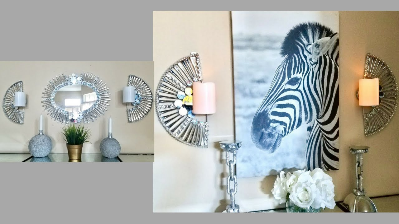 Diy Quick And Easy Wall Decor Set Of Mirror + Wall Sconces