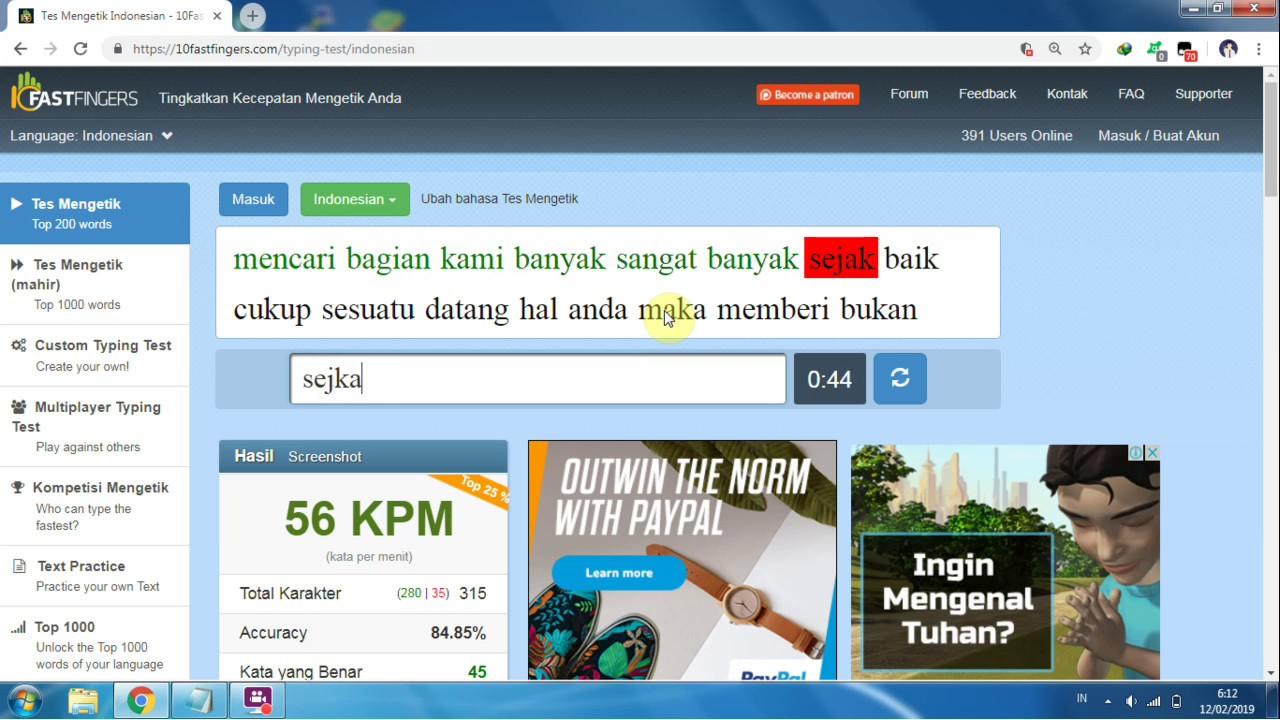 Tes Kecepatan Mengetik 10 Jari Typing Online Indonesia Part 1 61 Kpm