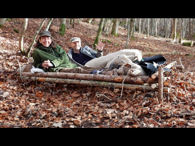 Primitive Bushcraft Bed and Overnighter - No Sleeping Bags