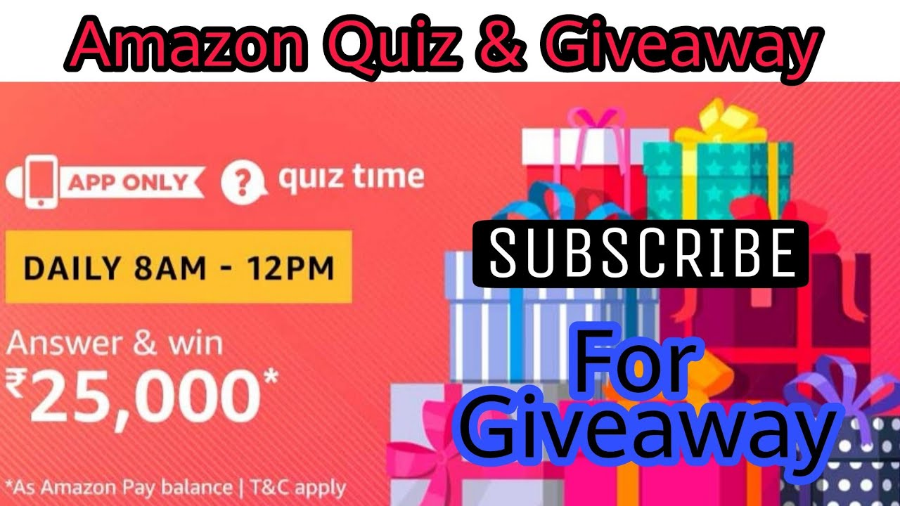 Amazon Quiz Answer To Win ₹25,000 | 2 Winners | 4 January , Amazon Quiz and  Giveaway