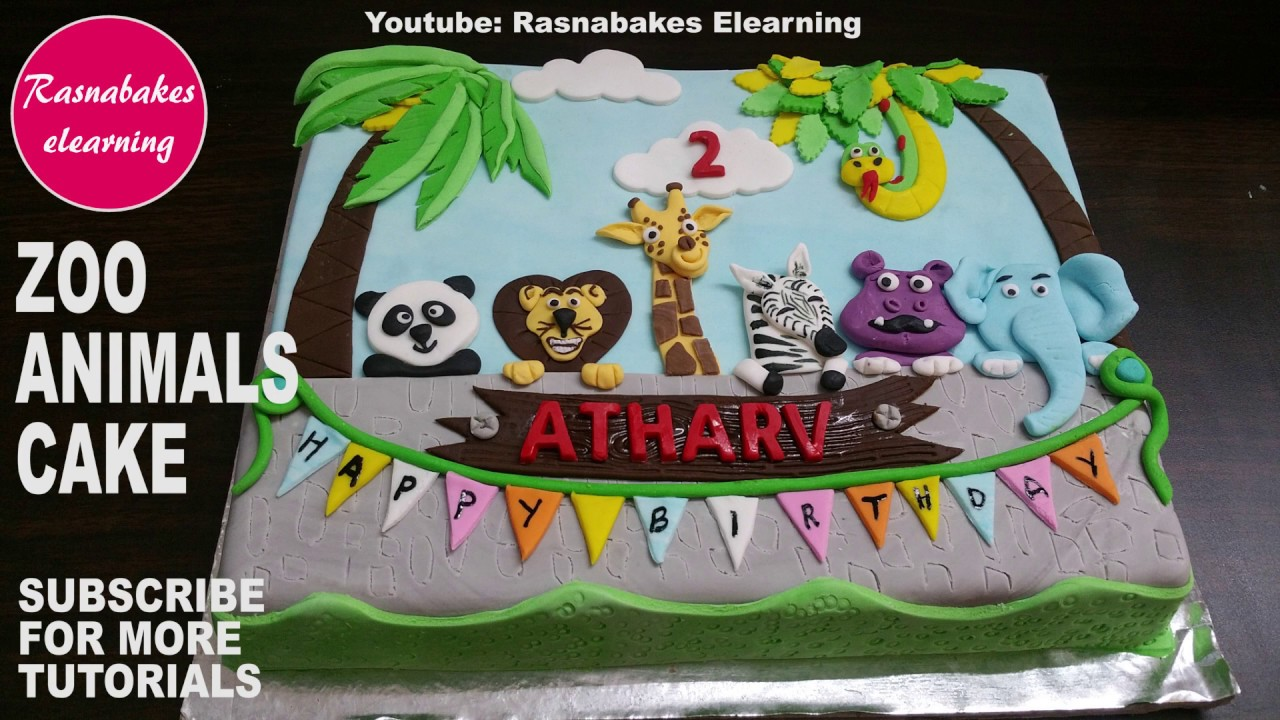 Zoo Wild Animals Birthday Cake Decorating Video For Kids