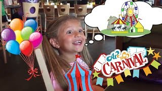 GIANT SLIDE! Gia and Gav visit the FAIR Carnival! Rides, Rollercoasters,and GAMES! FUN !