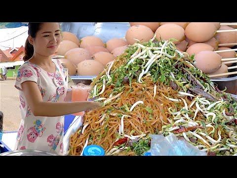 Laos Vientiane Street Foods compilation - Foods Drinks Market, Fried rice, Tea, Squid, Noodle, BBQ