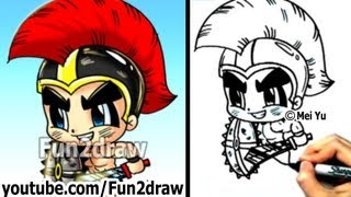 How to Draw Cartoon People - Gladiator Warrior - Fun Things to Draw - Fun2draw