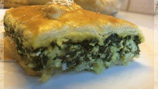 Рецепт Пирог из слоеного теста с творогом и Шпинатом.Очень вкусный хрустящий пирог-попробуйте